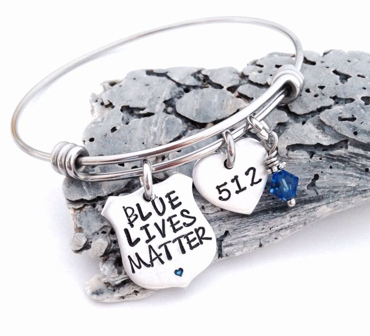 Blue lives matter bangle bracelet-police lives matter-police gift-thin blue line jewelry-police wife-police mom-police girlfriend-jewelry by ChristinesImpression on Etsy https://www.etsy.com/listing/468710509/blue-lives-matter-bangle-bracelet-police