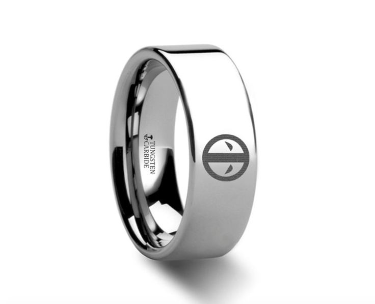 This is a precision crafted ring from our line of Comfort Fit Tungsten Carbide Rings. This ring has Deadpool's logo engraved on the ring. The perfect gift for any fan. You can also have any of Deadpoo