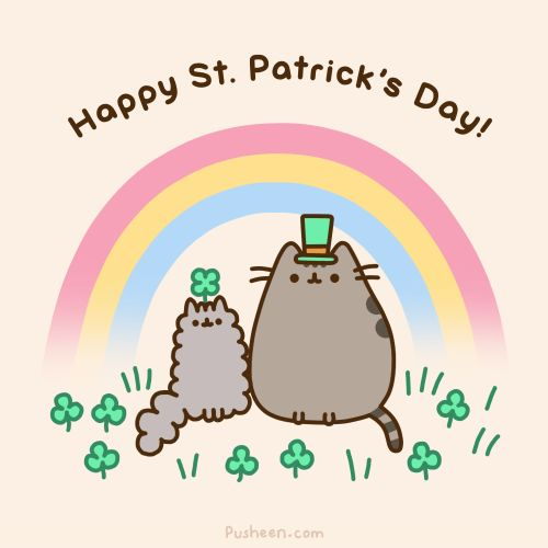 e621 :3 ambiguous_gender animated cat cute english_text feline fur grass grey_fur happy hat holidays mammal plain_background pusheen pusheen_corp rainbow shamrock simple_background st._patrick's_day text whiskers