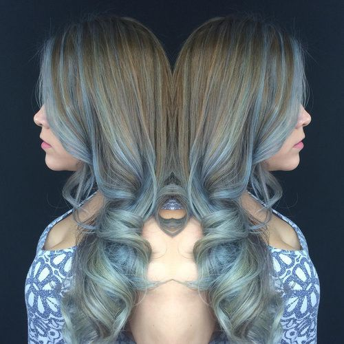 light brown hair with blue highlights