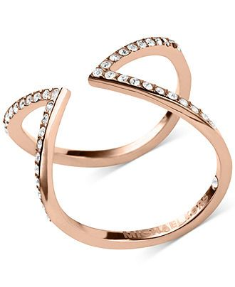 Michael Kors Open Arrow Clear Rose Gold Pavé Ring - Fashion Jewelry - Jewelry & Watches - Macy's