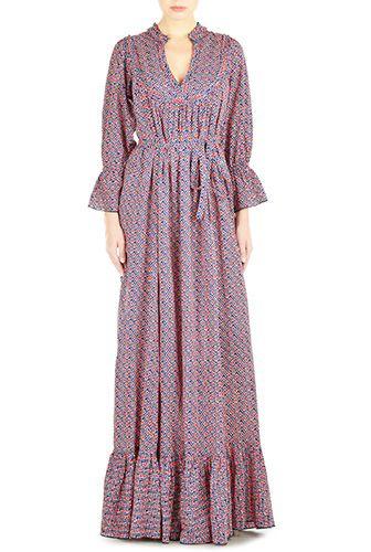 I <3 this Geo print cotton trapeze maxi dress from eShakti
