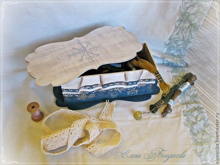 Купить Кружевная шкатулка для рукодельницы - морская волна, шкатулка для мелочей, шкатулка для рукоделия, шкатулка деревянная