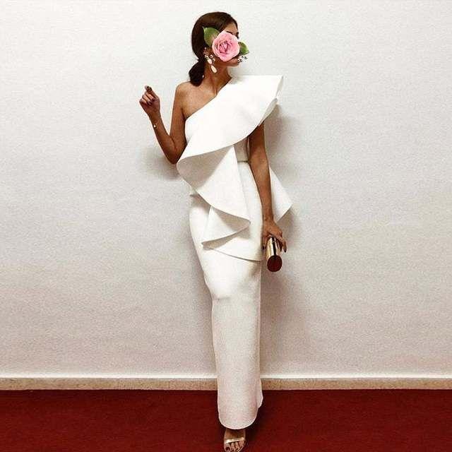 Robe Formelle Vestido Longo Robe De Soiree Robe De Soiree Superbe Elegante Longue Robes De Soiree Droite Volants Abi Soiree Robes Robe Fashion Vetements Styles