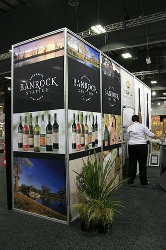 Constellation Wines - 3m high Techstyle modular exhibition wall with storage behind. The graphics are made from Dye-sublimated fabric prints...
