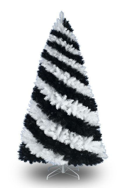 black white striped christmas tree - How Much Are Christmas Trees