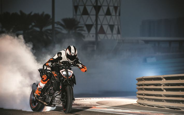 Download wallpapers KTM 1290 Super Duke, 2018 bikes, drift, smoke, 1290 Super Duke, KTM