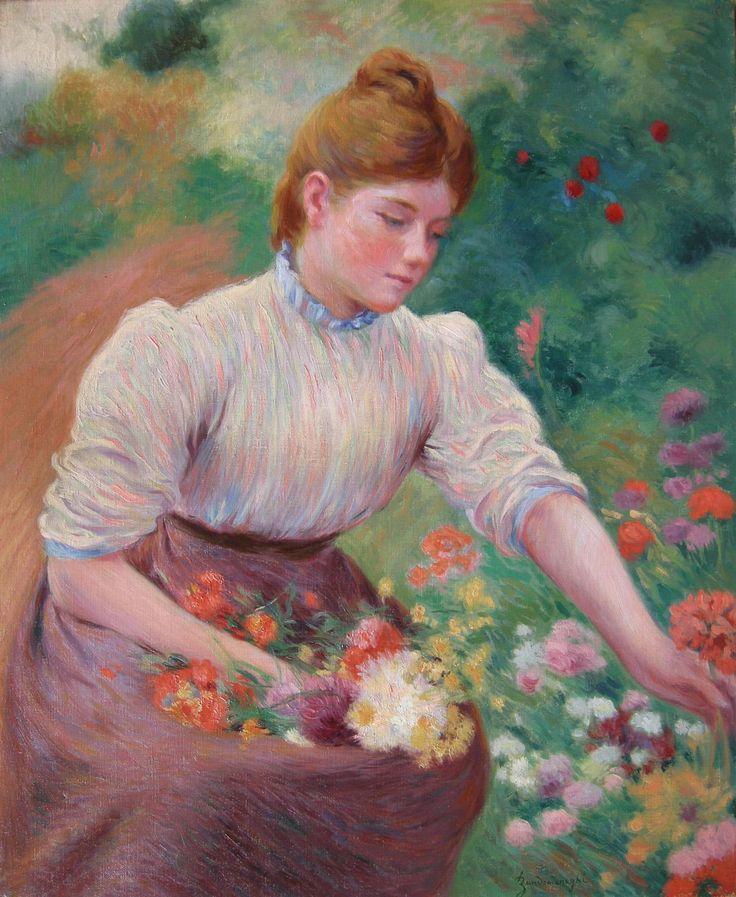 Federico Zandomeneghi, A Girl Picking Flowers
