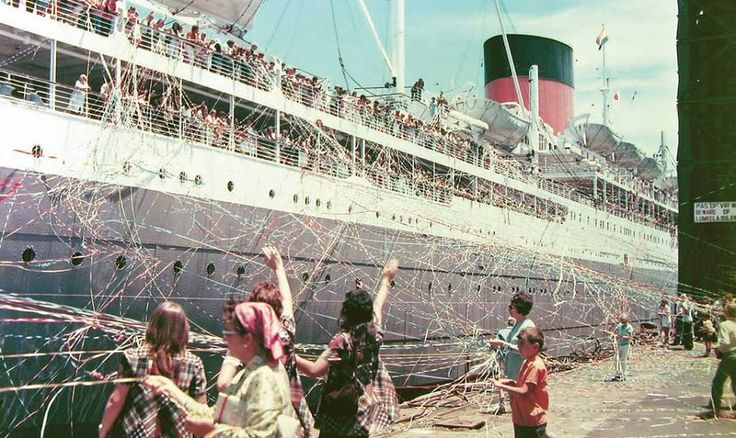 The weekly Union-Castle Line Ship departing Cape Town for Southampton in 1971. Passengers aboard and family & friends ashore held onto streamers until they broke. The Pendennis Castle left Cape Town harbour for the last time in 1973. When the horn was blown it was the most heart rending sound especially when loved ones were departing.