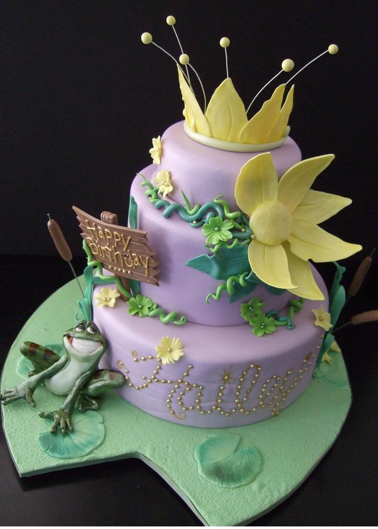 Princess & the frog themed cake. Fondant frog, lily pad ...