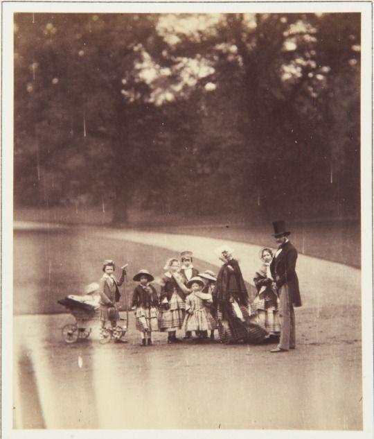 Queen Victoria, Prince Albert and their eight children Buckingham Palace garden. May 22, 1854.