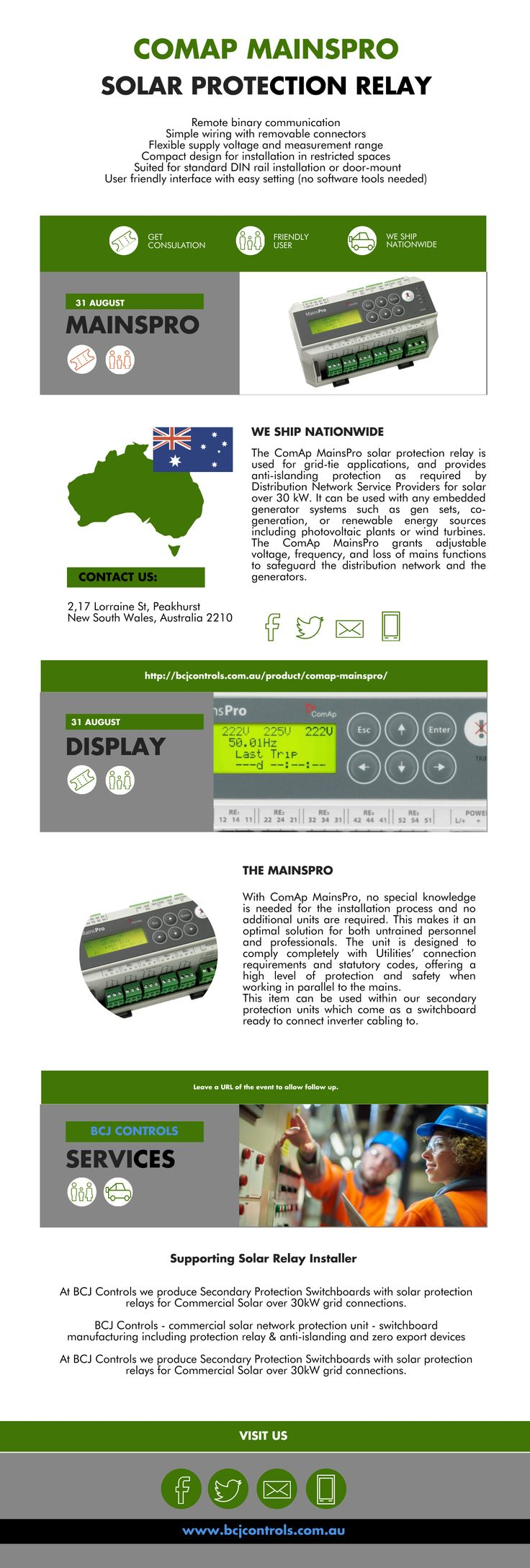 Home | ComAp MainsPro - Mains decouplings, Free assignment of five relay outputs allows for a large range of signaling and trip methods. A Four binary switches to remotely alter unit operation. Visit us for more info and features of the products @http://bcjcontrols.com.au/product/comap-mainspro/  #solarprotectionrelay #mainsPro #ComApMainsPro #ComAp