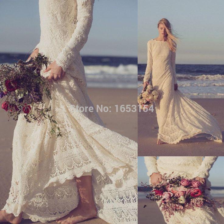 pas cher robes de mari e en dentelle manches longues plage boh me romantique robes de mari e a. Black Bedroom Furniture Sets. Home Design Ideas