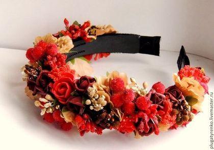 Веночек-ободок Зимняя роза - веночек-ободок,обруч для волос,обруч с цветами