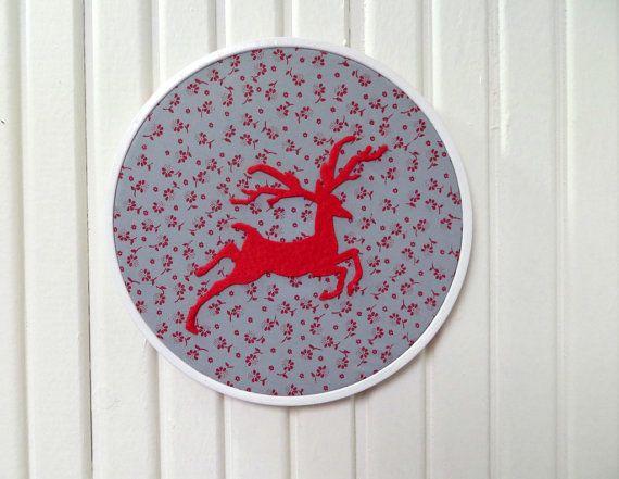 Red Christmas Deer Reindeer Appliqued Blue Red by sesideco on Etsy, $17.00