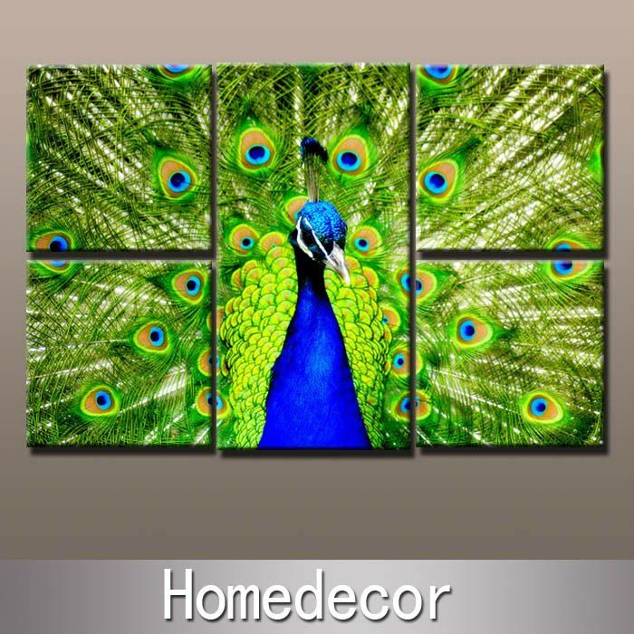 5pcs set large size animal peacock wall art modern for Peacock wall art