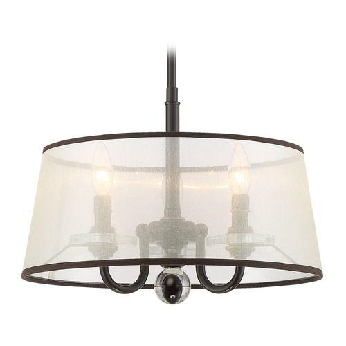 Quoizel Lighting Ceremony Palladian Bronze Pendant Light with Drum Shade | CRY1716PN | Destination Lighting