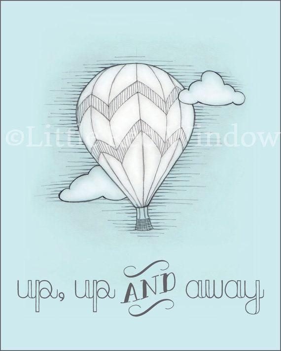 Hot Air Balloon Printable Print--8 x 10--INSTANT DOWNLOAD--Up, Up & Away, Nursery Art Print