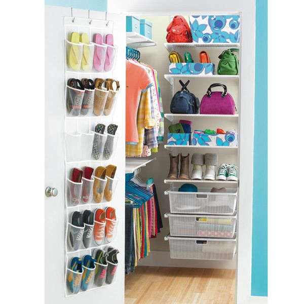 Smart concept: more drawer/shelf space than hanging space b/c which tweens actually hang their clothes? The back of the door shoe rack is another smart idea b/c they all have a zillion pairs of flipflops  The Container Store > White elfa Walk-In Teen Closet