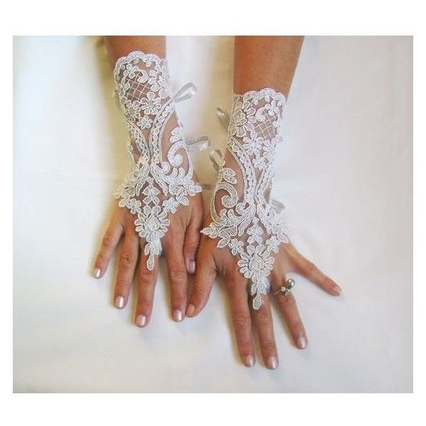 Silver Wedding gloves free ship bridal fingerless french lace light gr ❤ liked on Polyvore featuring accessories, gloves, bridal lace gloves, silver gloves, lace gloves, bride gloves and fingerless bridal gloves
