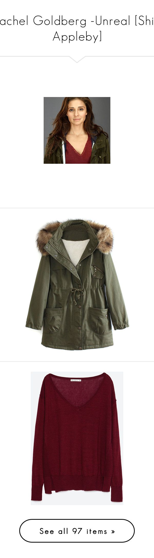 """Rachel Goldberg -Unreal [Shiri Appleby]"" by noamsharabi ❤ liked on Polyvore featuring outerwear, coats, jackets, tops, parka coat, faux fur hood parka, olive green parka coat, olive green coat, faux coat and sweaters"