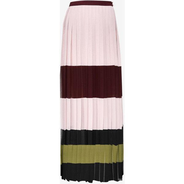 Ted Baker Imperial Stripe maxi skirt ($209) ❤ liked on Polyvore featuring skirts, pleated skirt, maxi skirt, pink pleated skirt, long pleated maxi skirt and long striped skirt