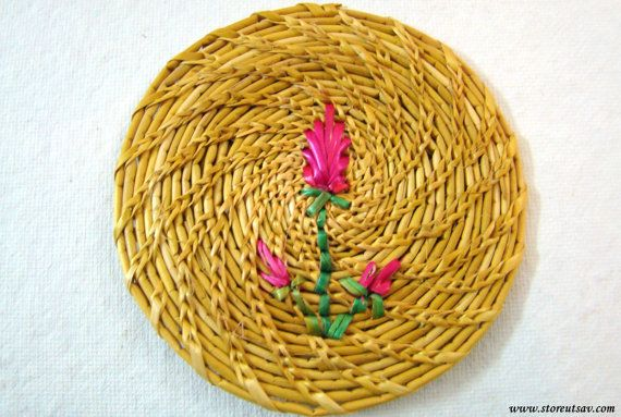 COASTERS - 6 Coasters Golden Grass Craft from Odisha in East India by Store Utsav (www.storeutsav.com)