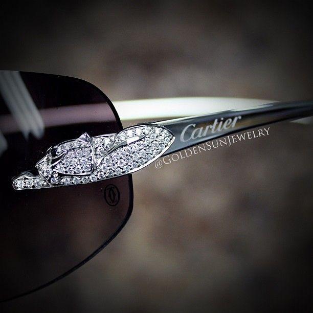 d442b0f4baf GOLDEN SUN JEWELRY  Cartier sunglasses with Russian cut diamond panthers.