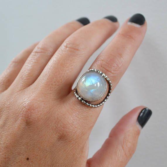 Ronda del arco iris Moonstone anillo, plata de ley piedra declaración, uno de una joyería de la piedra lunar bueno de cuentas