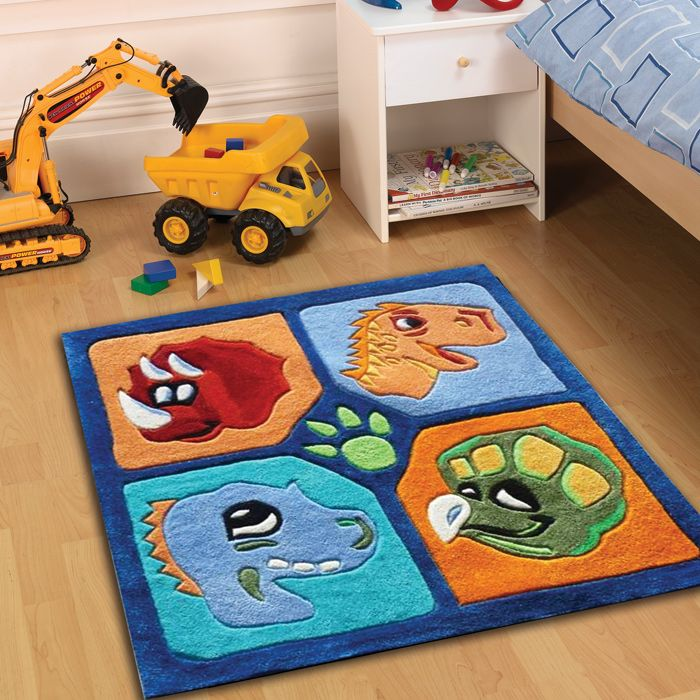 Colorful Rugs Dino the dinosaur blue red orange childrens fun rug Great for the bedroom playroom