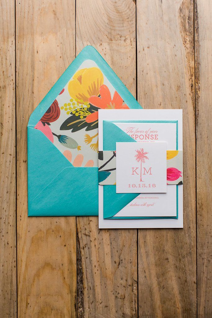 destination wedding invitation rsvp date%0A KONA Suite Glitter Package  tropical wedding invitation  rifle mint  palm  tree  destination