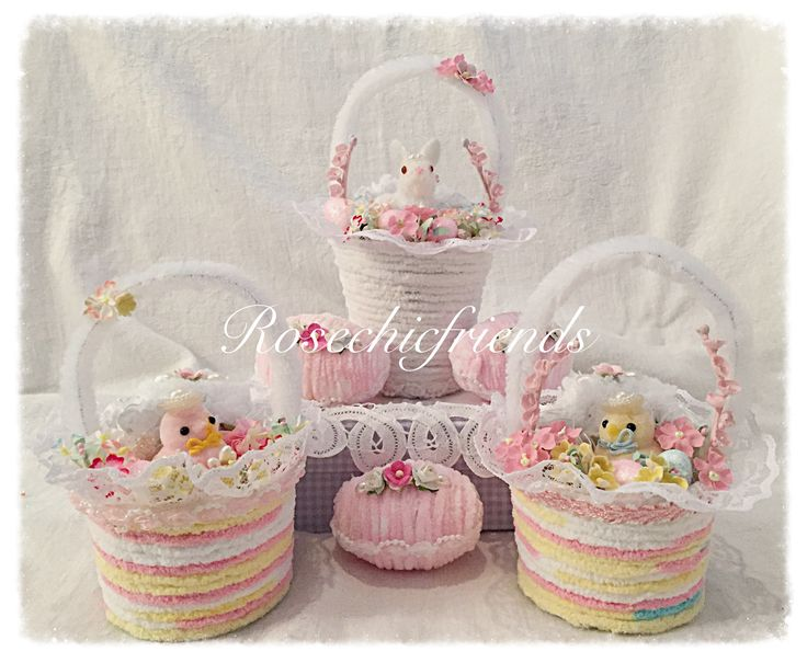 Chenille easter baskets by Rosechicfriends