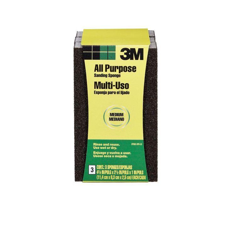 3M 4-1/2 in. x 2-1/2 in. x 1 in. Medium- Grit Sanding Sponge ((3-Pack) (Case of 6))