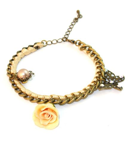 European Style Open Rose Bracelet Sarah Blue real flower jewellery