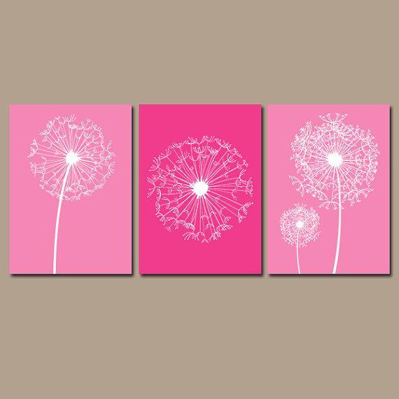 DANDELION Wall Art Canvas Hot Pink Bedroom Wall Art by TRMdesign