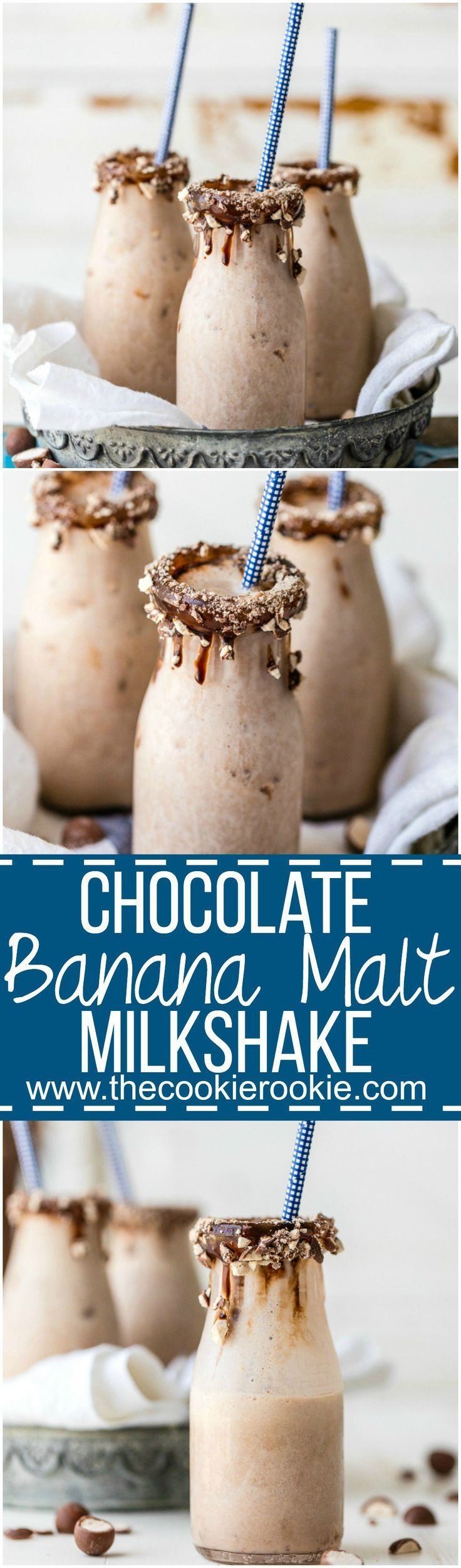 This Chocolate Banana Malt Milkshake is my favorite easy sweet treat! Thrown together in minutes with only 5 ingredients, it doesn't get any better! Voted best milkshake in Missouri!: