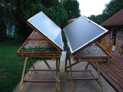 GeoPathfinder  Solar food drying shelves.  This is a fantastic web site for living off the grid guidelines.
