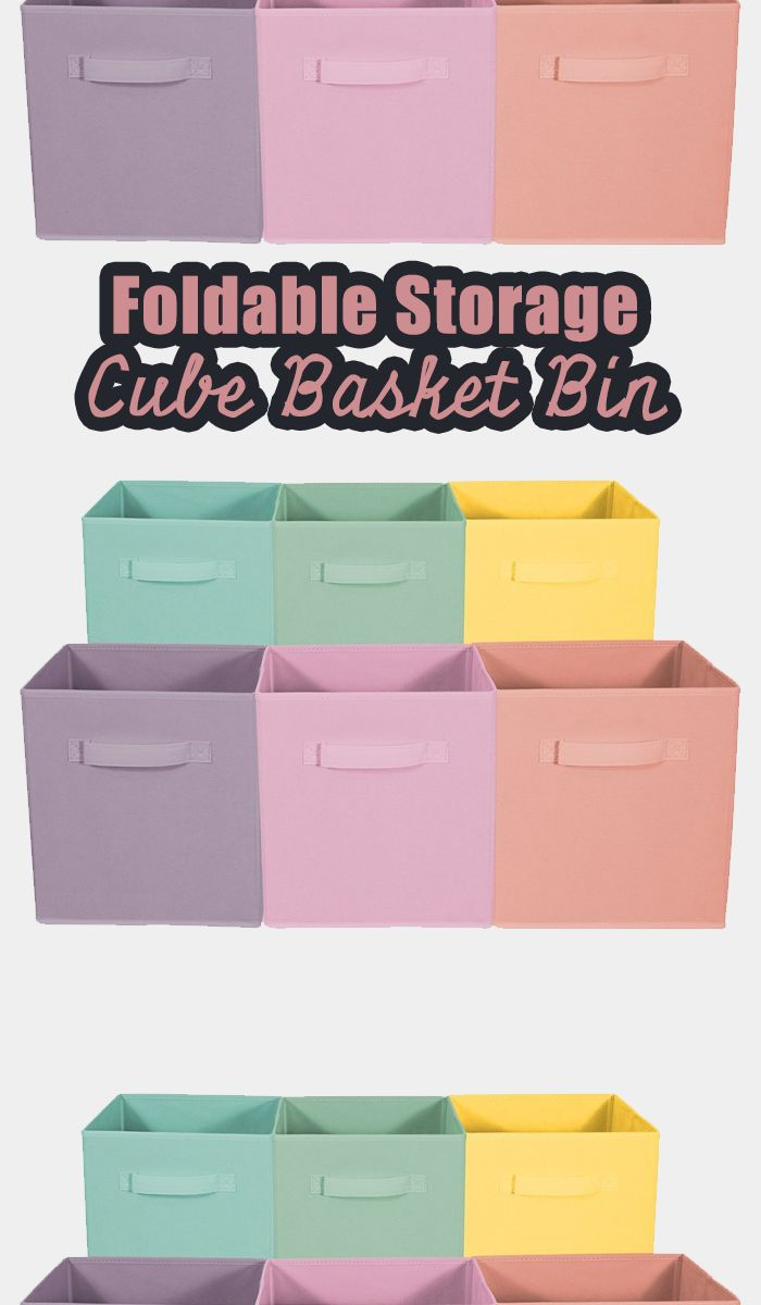 Perfect for organizing and cutting down on clutter, these Collapsible Storage Cubes add style and function to your cube organizer! Fabric drawers easily slide in and pull out of cube shelves thanks to sewn in handles! | organizing ideas | organizing hacks | organizing tips | organizing home | organizing toy | organizing smal spaces #Ad