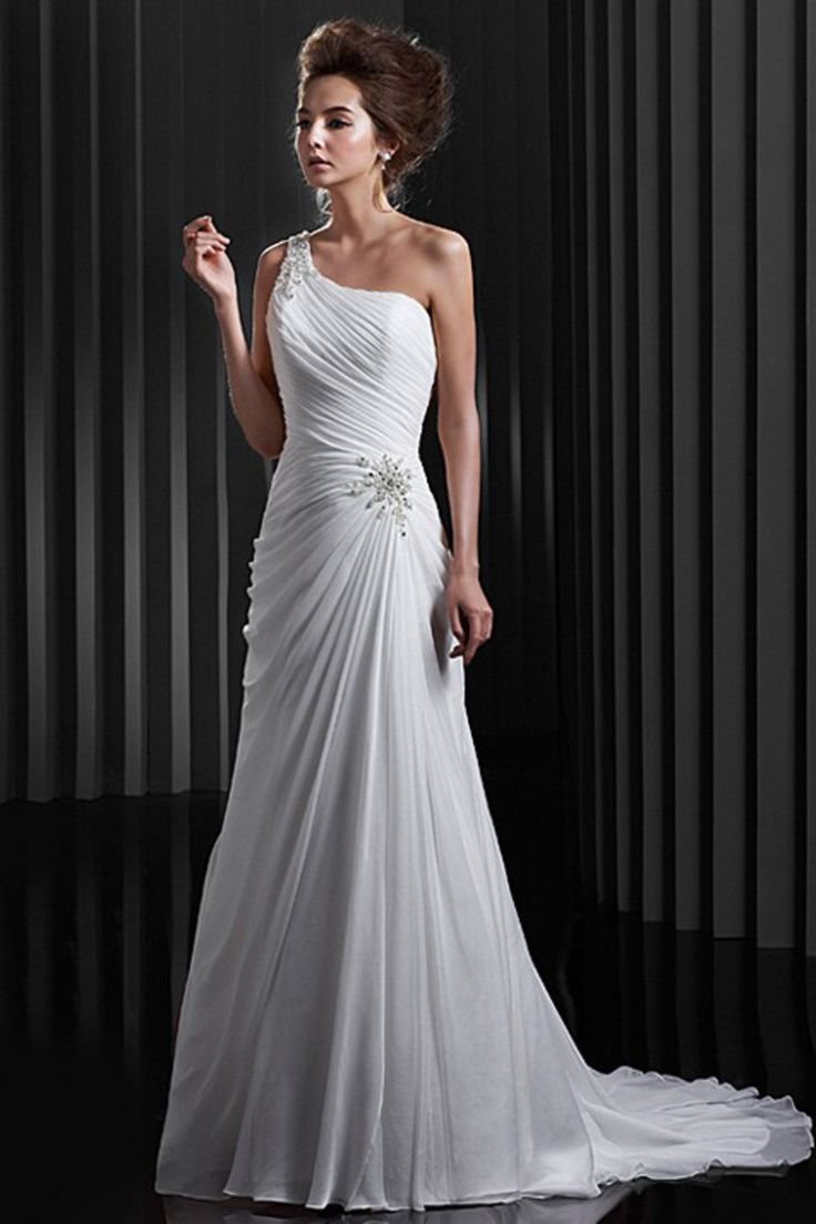 518 best one shoulder strap wedding dress inspiration images on buy concise chiffon white wedding dresses new arrival latest design at online stores high quality junglespirit Gallery