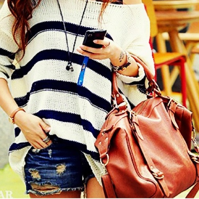 This whole outfit is so cute!Sweaters, Fashion, Summer Outfit, Style, Clothing, Jeans Shorts, Stripes, Bags, Dreams Closets