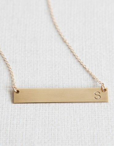 Single Initial Bar Necklace