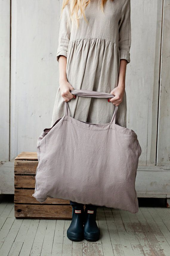 LAVENDER Matilda Linen Tote Bag Hand Made by SondeflorShop on Etsy