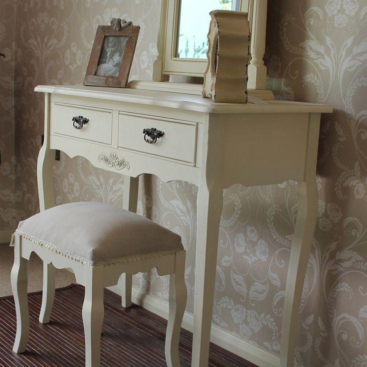 Belgravia Range - Cream Dressing Table with Fabric Stool