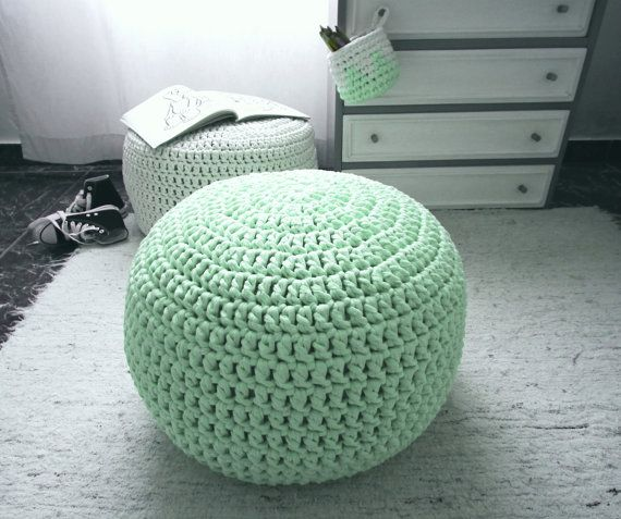 Light Mint Furniture Ottoman Pouf  Light Mint Green by LoopingHome