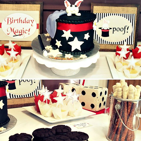 Wonderful details for magic themed party for young children. Just add inexpensive magic party favors, like those found on MagicTricks.com, to complete the theme.