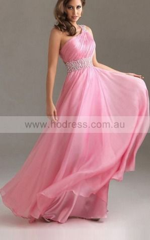 A-line One Shoulder Floor-length Chiffon Natural Formal Dresses gt3382--Hodress