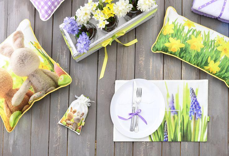 Весенний декор дома. Декоративные подушки, подтарельники, мешочки и полотенца для весеннего оформления.