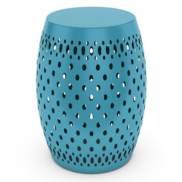 DAR Metal Garden Stool ($70) ❤ liked on Polyvore featuring home, outdoors, patio furniture, outdoor stools, blue, metal side table, metal garden furniture, blue garden stool, painted side tables and pedestal side table