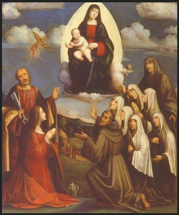 Madonna col Bambino e Santi Pietro Francesco marche Maddalena e sei monache 1528  Pinacoteca Nazionale di Bologna