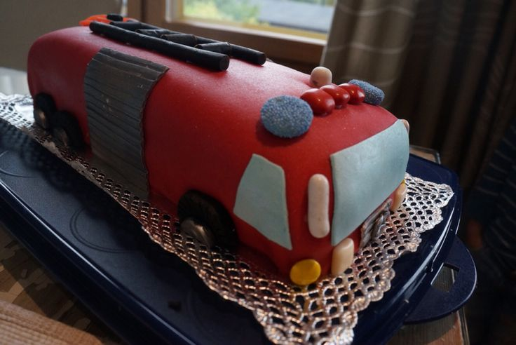 Fire-engine cake for 5-year old